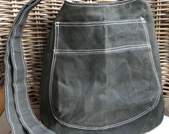 Cross Body bucket WAXED CANVAS BAG: dark olive | gray, green, camouflage lining | black, white striped interior pocket | magnetic closure