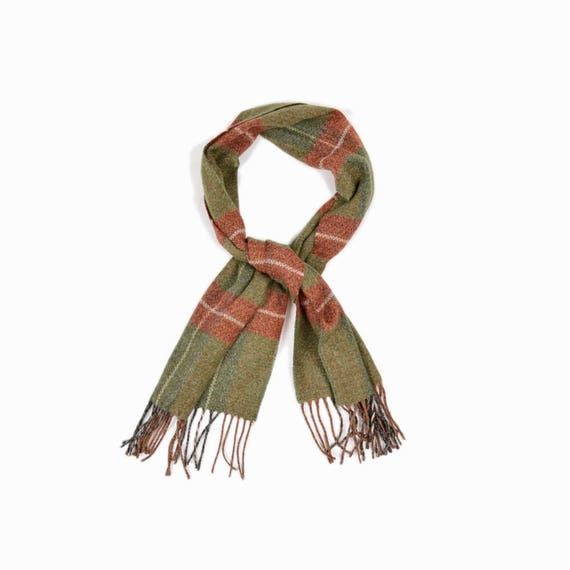 Vintage Moss Green Plaid Scarf with Fringe / Moss Green & Rust Red