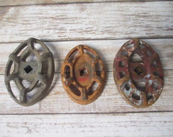 FAUCET HANDLES DISTRESSED - 3 Vintage Oval Assorted Colors Jumbo Metal for Mixed Media, Steampunk Industrial Decor, Altered Art Projects