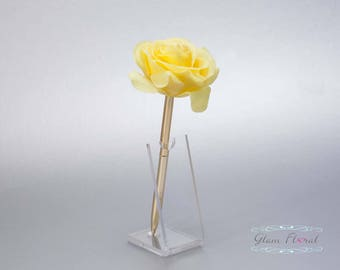 Yellow Rose Guestbook Pen. Gold Wedding Pen Set, Wedding Pen Holder, Real Touch Rose Flowers, Lemon Daffodil Yellow . Tea Rose Collection