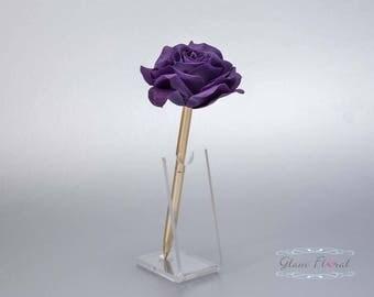 Dark Purple Rose Guestbook Pen. Gold Wedding Pen Set, Wedding Pen Holder, Real Touch Rose Flowers. Royal Purple. Tea Rose Collection