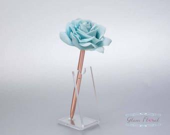 Teal Blue Rose Guestbook Pen. Rose Gold Wedding Pen Set, Wedding Pen Holder, Real Touch Rose Flowers, Aqua, Turquoise. Tea Rose Collection