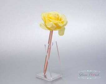 Yellow Rose Guestbook Pen. Rose Gold Wedding Pen Set, Wedding Pen Holder Real Touch Rose Flowers, Lemon Daffodil Yellow. Tea Rose Collection