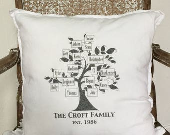 Family Tree   Personalized Pillow   Family Reunion Gifts   Mothers Gift   My Family Tree   Family Name Pillow