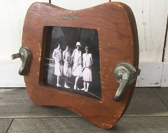 Up-Cycled Vintage Tennis Racket Press Turned Photo Frame, Picture Frame with Old Tennis Photo Included