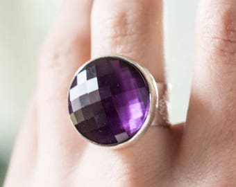Amethyst Statement  Ring Large Round Faceted in Sterling Silver, Handmade Size 6.5