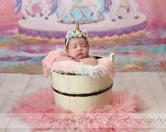 Newborn Unicorn Headband - Aqua Pink Pale Yellow - Baby Mini Unicorn Horn - Gold Horn