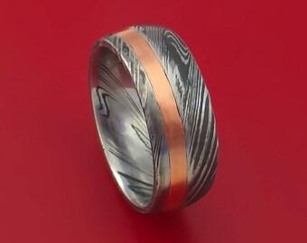 Kuro Damascus Steel and 14k Rose Gold Ring Wedding Band Custom Made