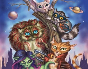 SALE Guardians of the Galaxy Cats - 8x10 art print - Star-Lord, Groot, Rocket, Drax and Gamora come together in cat form to save the Galaxy!