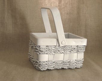 SALE Farmhouse White Basket / White Flower Girl Basket for your Beach, Garden or Cottage Chic Wedding