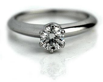 Tiffany & Co. GIA Certified .62 Ct Diamond Solitaire Platinum Engagement Ring