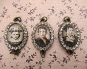 Breloques strass Style Vintage avec des Photos anciennes - bijoux Connectors - Antique Brass pendentif - Portraits de famille - Qté 3 * article neuf *