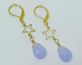 Pastel Sky // Petite Gold Star Earrings with Lavender Chalcedony Drops Celestial Bohemian Bohochic Pastel Goth Fantasy Fairy Kei Bridal Deco