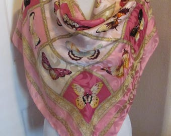 """Wow! Scarf Pink Jacquard Italy Colorful Butterfly Silk Scarf  - 36"""" Inch 92cm Square - Best of the Best"""