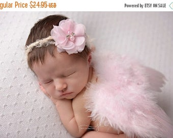 ON SALE Pink Feather Wing and Headband Set, Newborn Wings, Baby Wings, Newborn Photography Prop, Baby Girl Prop