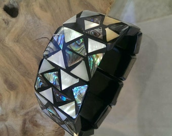 Mosaic Inlayed Abalone and Mother of Pearl Shell Cuff Bracelet