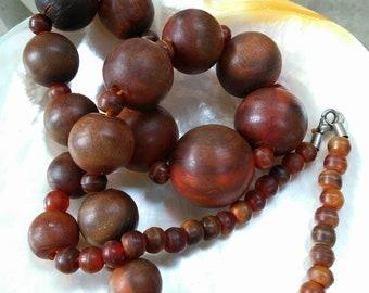 Brown and Burnt Orange Vintage Bone Beaded Necklace