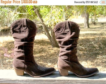 15 % off From My Closet Worn Once 90s Boho Gypsy  STEVE MADDEN Brown Suede Cowboy Boots Size 6.5 With Stacked Heel MINT