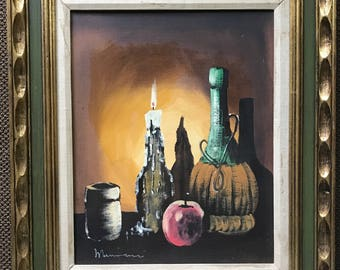 Vintage 1960s Muscalleri Still Life Oil Painting Retro Art Wall Hanging Mid Century Modern Realistic Decanter Fruit Candle