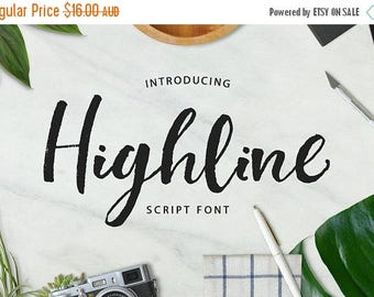 80% Off SALE Digital Fonts Highline Script Font, Brush Wedding Font, modern Calligraphy, Signature Typeface, Hand Written font
