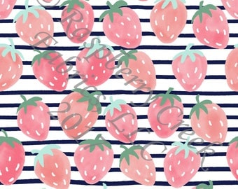 Navy Salmon Pink and Mint Strawberry Stripe 4 Way Stretch FRENCH TERRY Knit Fabric, Summer Fruits By Ella Randall for Club Fabrics