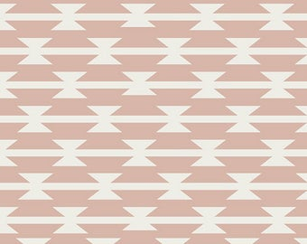 Dusty Pink Blush and Cream Geometric Arrow Jersey Knit Fabric, Arizona After by April Rhodes for Art Gallery, Tomahawk Stripe,  1 Yard