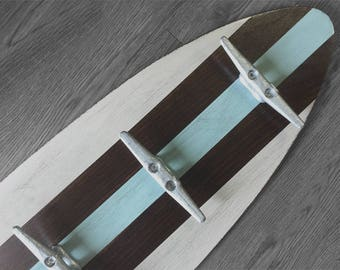 3 Ft Khaki, Dark Stain and Sea Foam Surfboard Coat Rack with 5 Boat Cleats