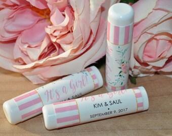 Girl Baby Shower Lip Balm Favor Labels, It's A Girl, Baby Shower Favors, Lip Balm Labels, Girl Baby Shower Favors - Set of 24 Labels