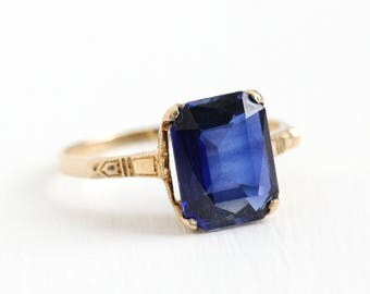 Vintage 14k Rosy Yellow Gold 2.75 CT Created Sapphire Ring - 1930s Art Deco Size 7 Lab Gemstone September Birthstone Fine Jewelry