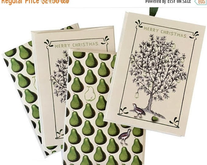 BLACK FRIDAY SALE Partridge in a Pear Tree Christmas Card Set- Green -Ivory -Pear Scented-essential oil