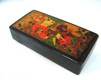 Russian Lacquer Box, Paper Mache, Hand Painted, Artist Signed, Soviet Era