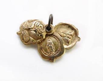 Sliding Rose Miraculous Medal, Marian Cross, Religious Pendant