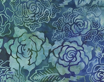 on sale Garden Oasis #52-54 Dark Blue Batiks Benartex Quilt Fabric Batik by the 1/2 yard