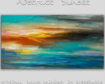 """Sale Original oil Painting Sunset Art Abstract Painting 48"""" Canvas  Wall Decor Original Modern Home Deco, Wall Hanging,  by Tim Lam"""