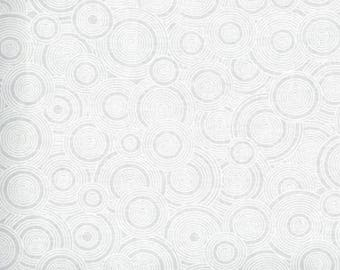 """White on White Concentric Circlesl 108"""" wide back 100% cotton fabric"""