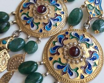 FREE SHIPPING BALALAIKA Earring  ethnic sterling russian antique inspired enamel emerald