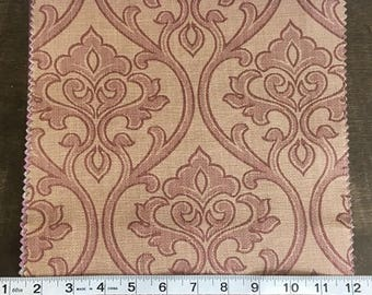 Custom Curtains Valance Roman Shade Shower Curtains in Rust Damask Pattern Fabric
