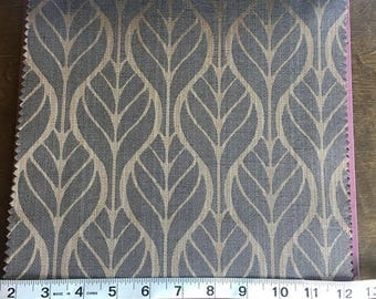 Custom Curtains Valance Roman Shade Shower Curtains in Charcoal Leaf Pattern Fabric