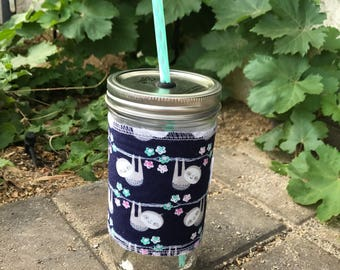 Silly Sloths sleeve straw lid DIY mason jar tumbler
