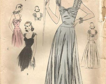 1940s Evening Gown Wedding Gown Shirred Bodice Cap Sleeves Drop Waist Full Skirt Vogue S-4446 Bust 32 Women's Vintage Sewing Pattern