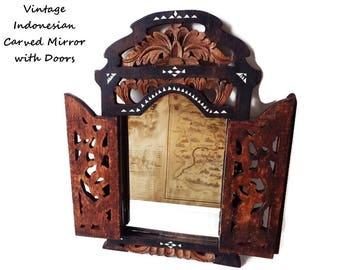 Carved Wood Mirror with Doors from Indonesia/ Vintage  Javanese Inlay Mirror with Filigree Doors