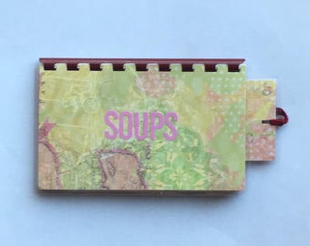 Handmade Burgundy Pink 'Soups' Blank Recipe book for Your Personal Recipes