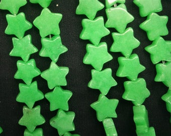 20pcs/lot - Green Jade Star Beads 10mm -central drilled