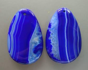 As Pictured- 2pcs -Large Royal Blue Teardrop agate Pendant 35x55mm- #1025014