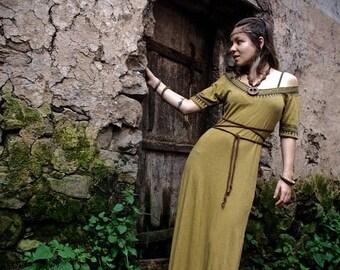 Tribal Long Native American style long dress made of Organic hemp Cotton Earthy Natural Eco friendly