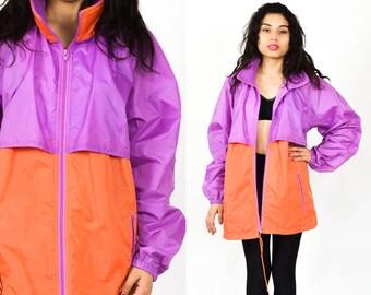 ORANGE PURPLE 90s WINDBREAKER 80's 90's  Long Sleeves. Orange Purple Vintage 80's 90's Jacket Coat  Size Large / Unisex