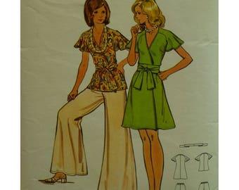 "Wrap Top/Dress Pattern, Wide Leg Pants, V-neck, Raglan Sleeves, Short, Tie Sash, 1970s, Butterick No. 3157 Size 8 (Bust 31.5""80cm)"