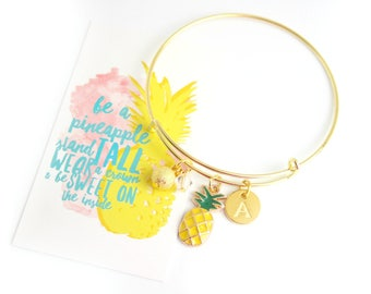 Gold Pineapple Initial Charm Pendant Bracelet And Card Be A Pineapple As Seen On Jane.com