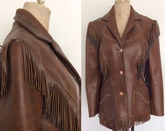 1970's Vegan Leather Fringe Jacket by Pioneer Wear Size Medium by Maeberry Vintage