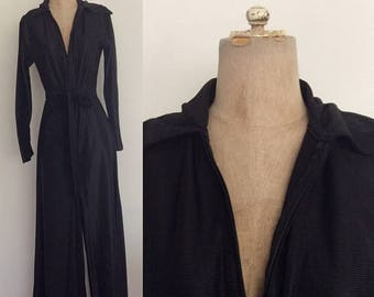 20% OFF 1970's Nylon Black Belted Wide Leg Jumpsuit Size Small Medium by Maeberry Vintage